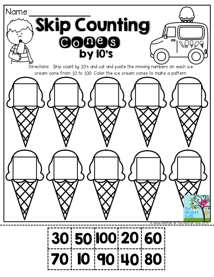 Skip Counting Cones by 10's- Don't let you students get