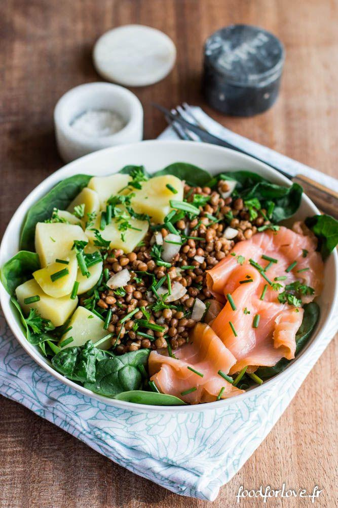Assiette compl te pinards lentilles pommes de terre et saumon fum recette salad food et - Cuisiner les lentilles vertes ...