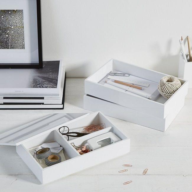 Scandinavian Black And White Home Office Desk tidy Office desks