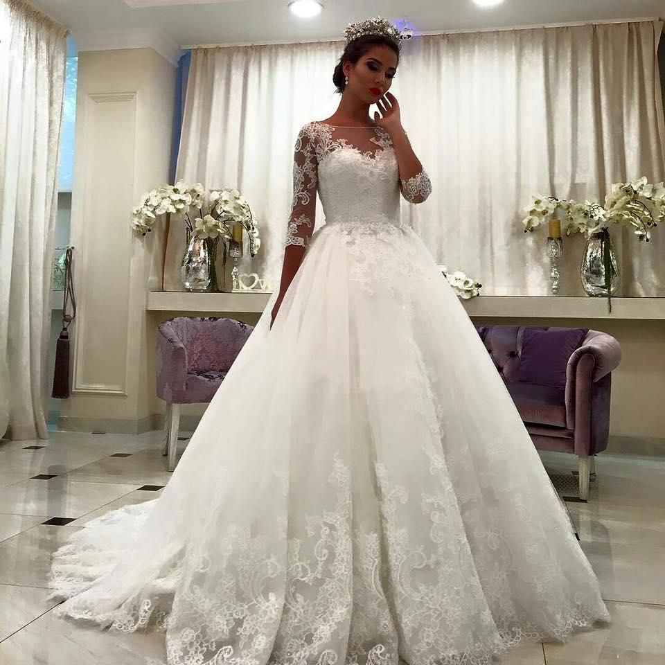 Lace arm wedding dress   Three Quarter Sleeves ALine Lace Bridal Gowns with Appliques