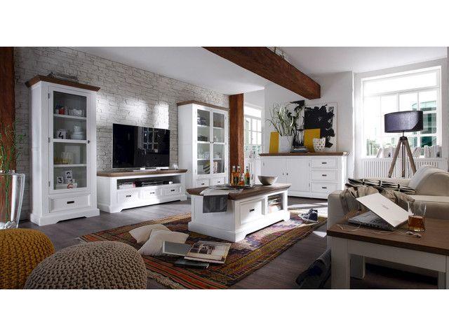 Couchtisch-aus-Akazie-mit-Schubfach-Cocona-in-weiss-braun - Wohnzimmer In Weis Und Braun