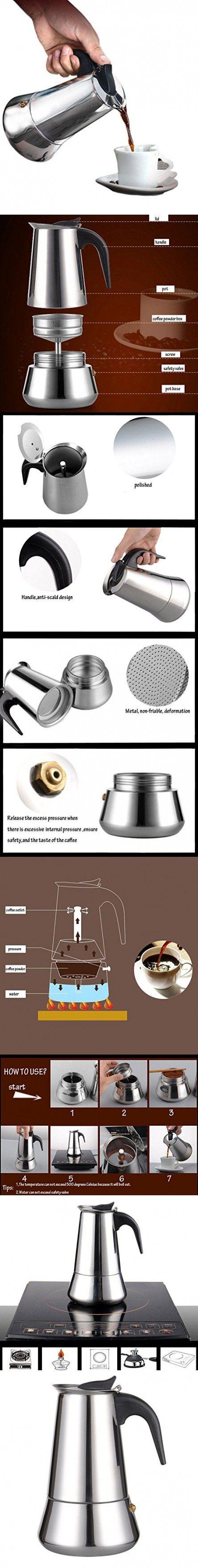 Generic ml cup stainless steel moka espresso latte percolator
