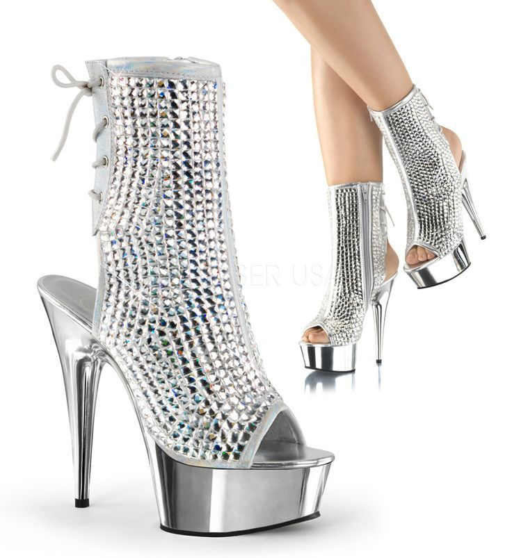2267f3224862 Pleaser DELIGHT-1018DCS Silver Multi Rhinestone Ankle Boots With Silver  Chrome P...  1018dcs  ankle  delight  multi  pleaser  rhinestone  silver