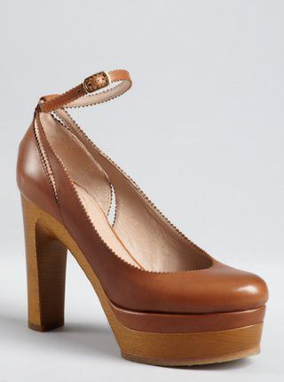 Chloe tan leather pinked trim ankle strap wooden platform pumps