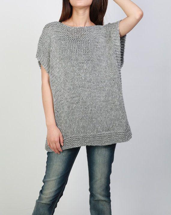 Teje a mano la túnica suéter gris eco algodón mujer por MaxMelody ... dcbadad59c62