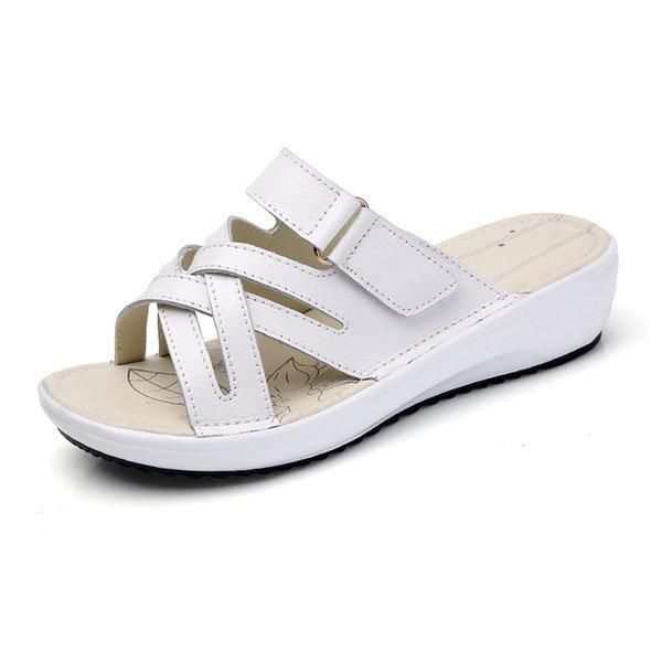 8b005207efcc Women Candy Color Leather Cross Summer Flat Platform Sandals in 2019 ...
