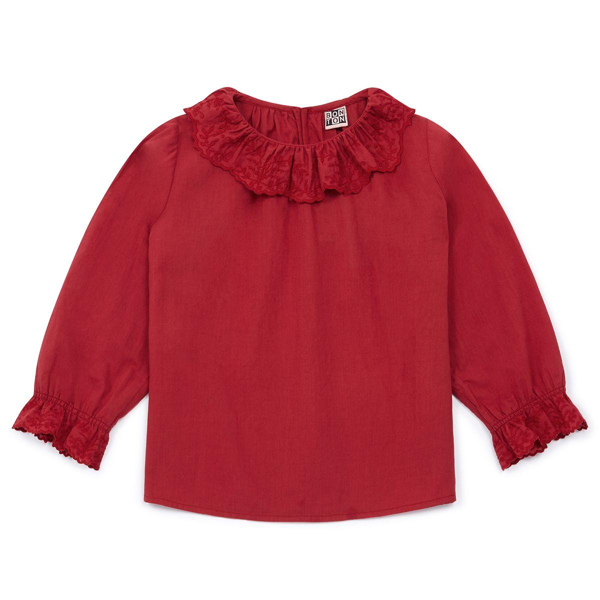 BONTON Toddler/Big Kid Embroidered Collar Blouse