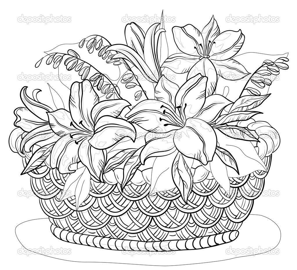 Depositphotos 6019488 Basket With Flowers Contours Jpg Jpeg Image 1023 930 Pixels Scaled Paginas Para Colorir Coisas Para Desenhar Riscos Para Pintura