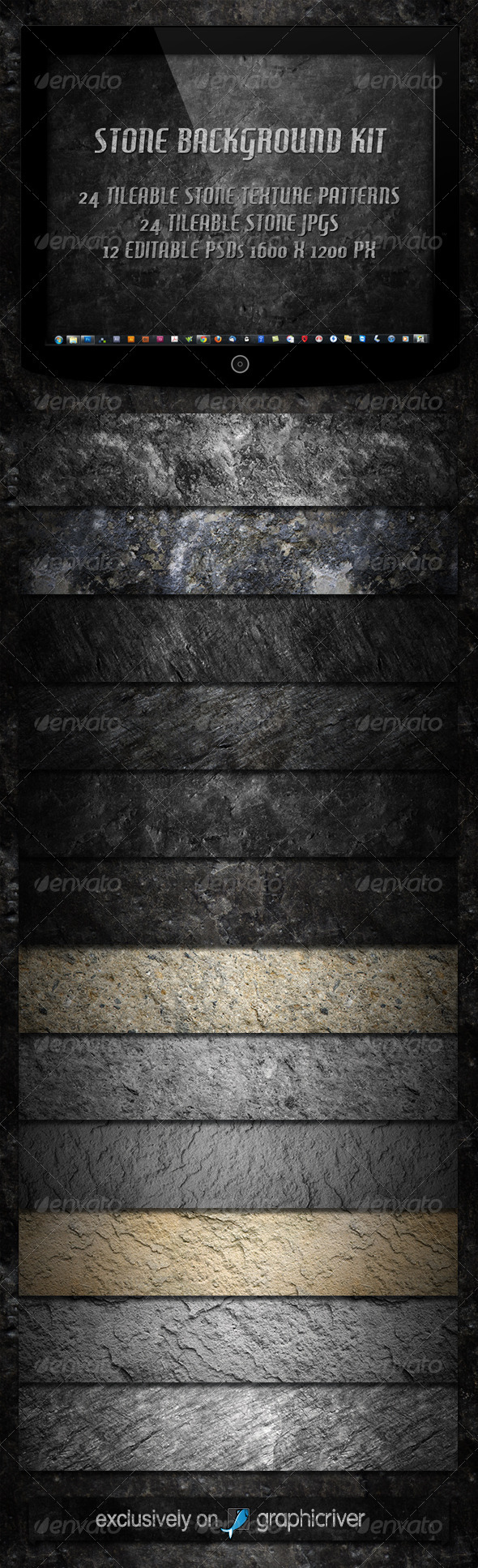 12 Tileable Stone Textures Background Kit  #GraphicRiver         The Tileable Stone Background Kit contains the following files:  	 12 tileable .JPG files in 1024×1024 px resolution 12 tileable .JPG files in 512×512 px resolution 1 .PAT file including 24 photoshop patterns 12 editable .PSD files  	 You can use the files for nearly everything, webpage backgrounds, wallpapers, texturing etc.  	 It's easy to edit the .PSD files that the result fits to your belongings. Change the shadow by…