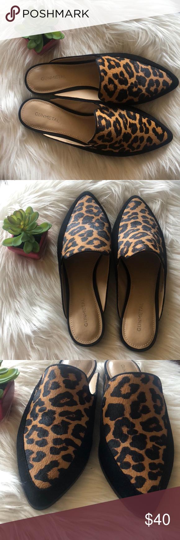 DSW Gunmetal Mohair Leopard Loafers