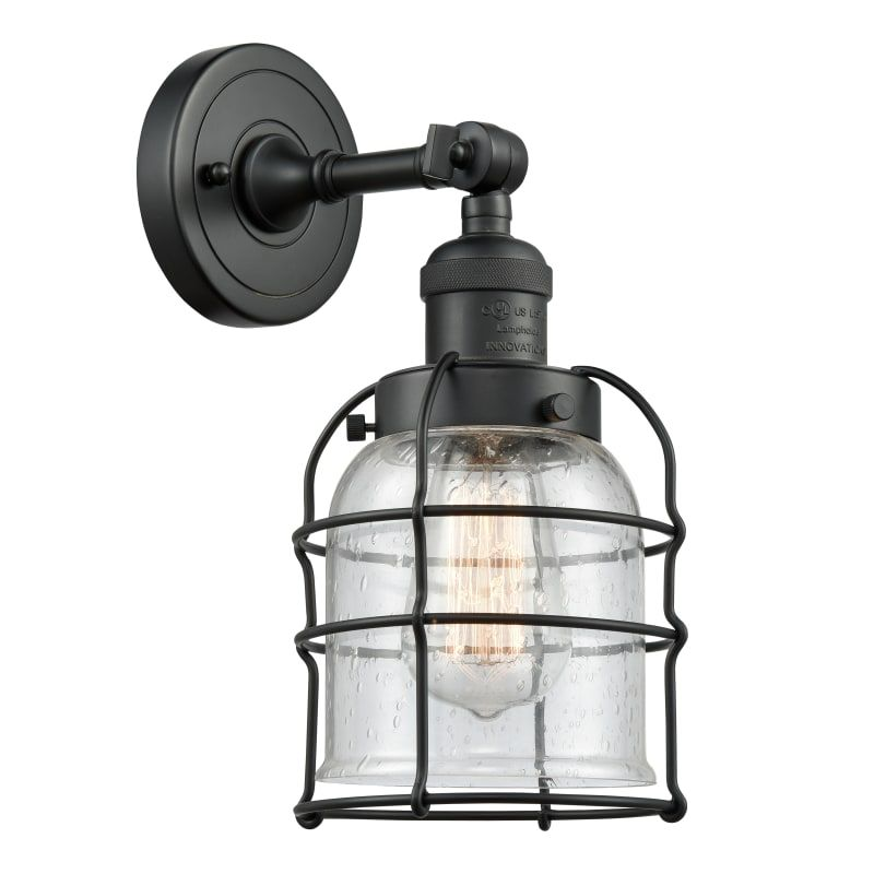 Photo of Innovations Lighting 203 Small Bell Cage Small Bell Cage Single Light 12″ Tall B Matte Black / Seedy Indoor Lighting Bathroom Fixtures Bathroom Sconce