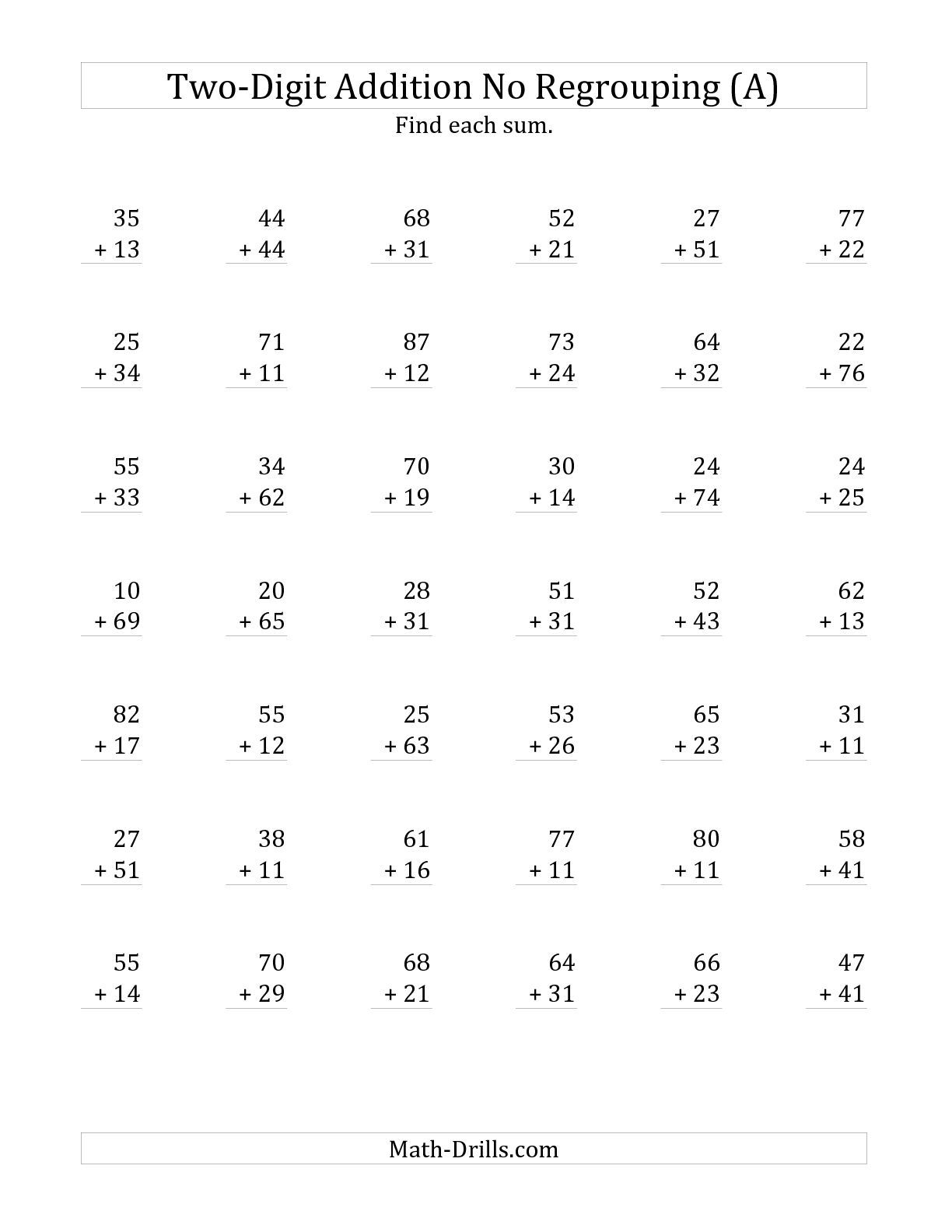 medium resolution of 2-Digit Addition with No Regrouping (A) Addition Worksheet   Addition  worksheets