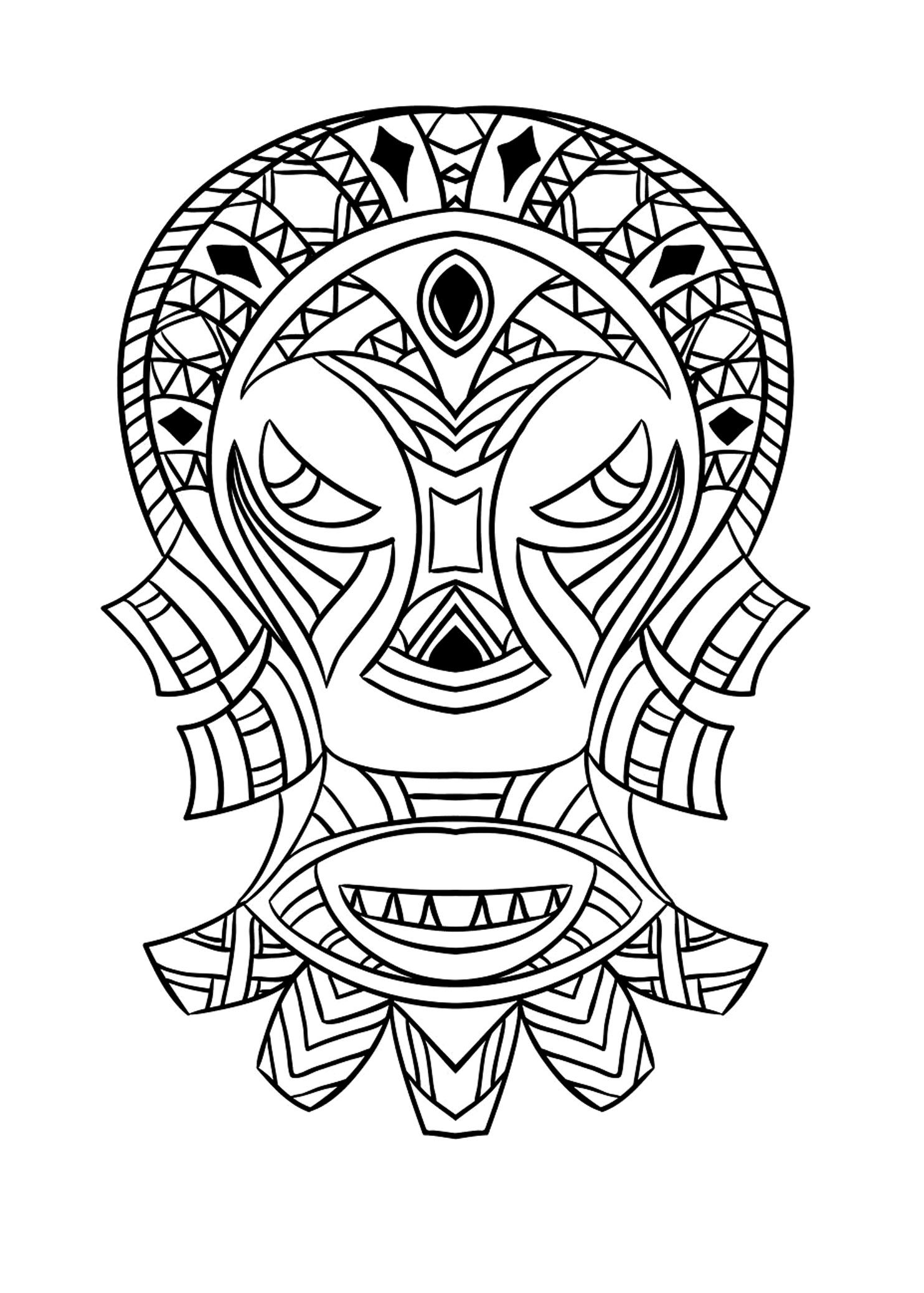 Free Coloring Page Coloring Adult African Mask 4 Coloring Picture