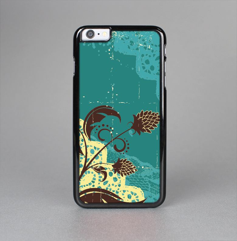 The Yellow Lace and Flower on Teal Skin-Sert for the Apple iPhone 6 Plus Skin-Sert Case