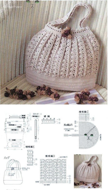 Luty Artes Crochet: Bolsas em crochê + Gráficos. | BOLSAS TIRA COLO ...