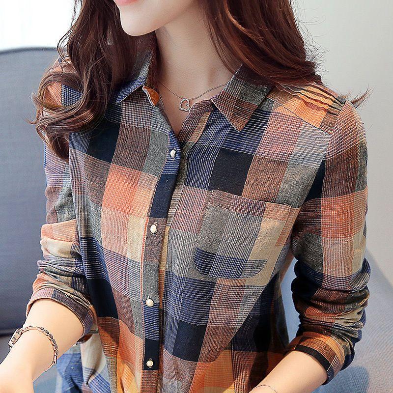 Korean Fashion Autumn New Woman Plaids Slim Cotton Lapel Casual Shirt Tops 2016 #Unbranded #Blouse #Casual