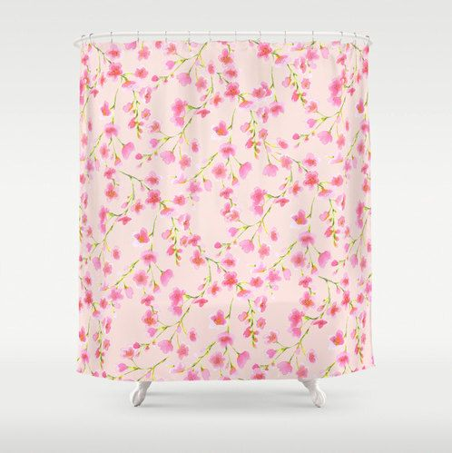 Pink And Green Floral Shower Curtain Cherry Blossom Pattern