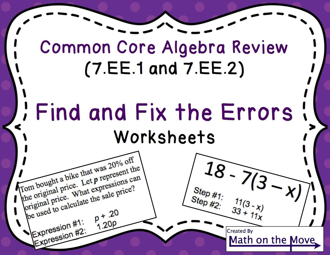 Expressions Find And Fix The Errors Worksheet Math Grades 7 12