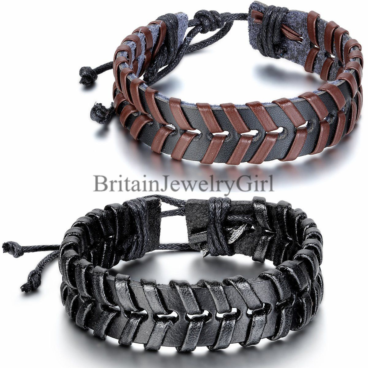 Mens womens double layer wrap braided leather bracelet cuff bangle