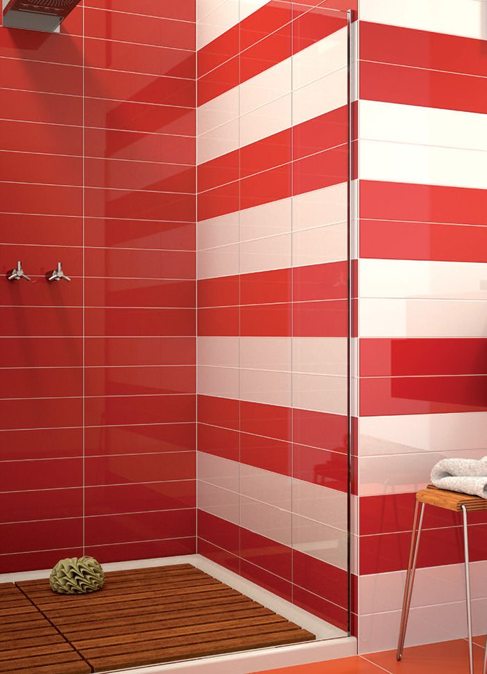 Red And White Tiles Bathroomtiles