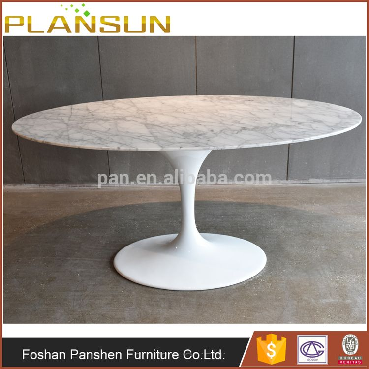 True Design Classic Eero Saarinen White Natural Oval Tulip Marble Top  Dining Marble Table With Central