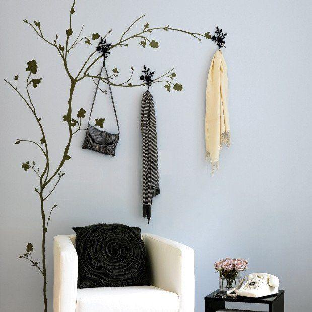 Tree W Hooks Wall Sticker Architecture Interior Pinterest - Wall decals on furniture