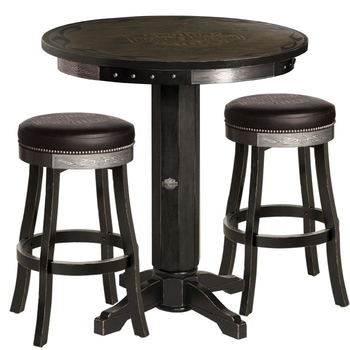 Harley Davidson® Bar U0026 Shield Flames Pub Table U0026 Stool Set W/ Vintage Black  Finish