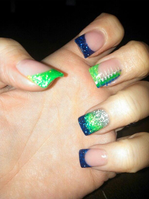 Seahawk Nails Nail Ideas Seahawks Nails Nails Shellac Nails