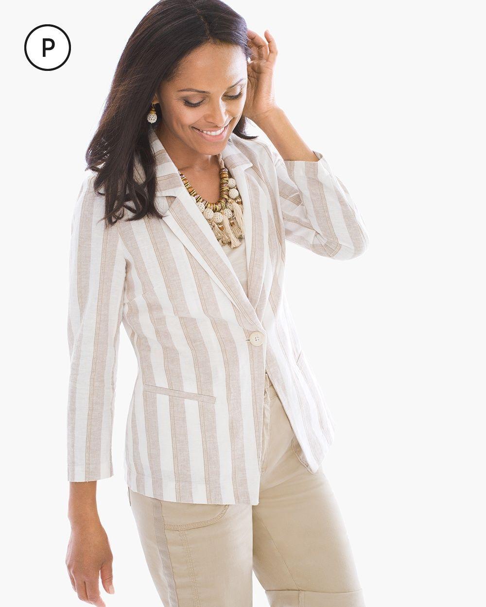 7f01348d8706 Chico's Women's Petite Striped Linen Blazer, Neutral, Size: 3P (16P/18P XL)