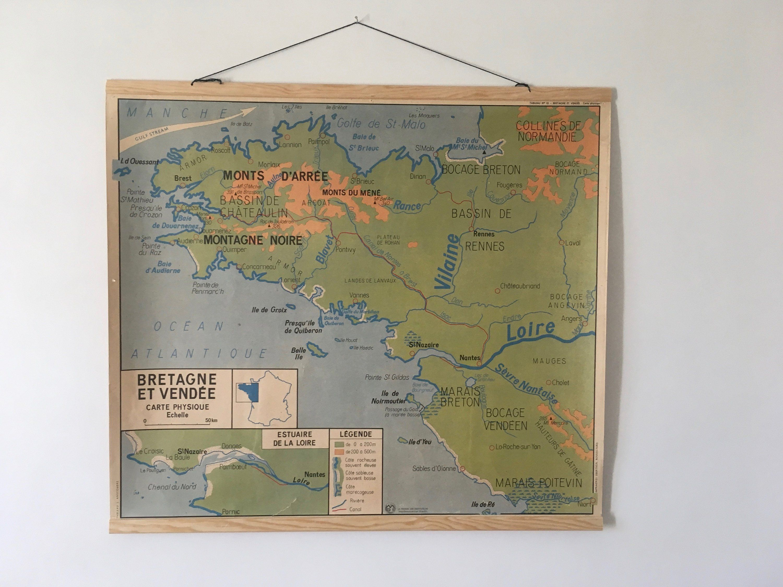 Carte Murale Ancienne D Ecole Geographique Bretagne Vendee Pays De