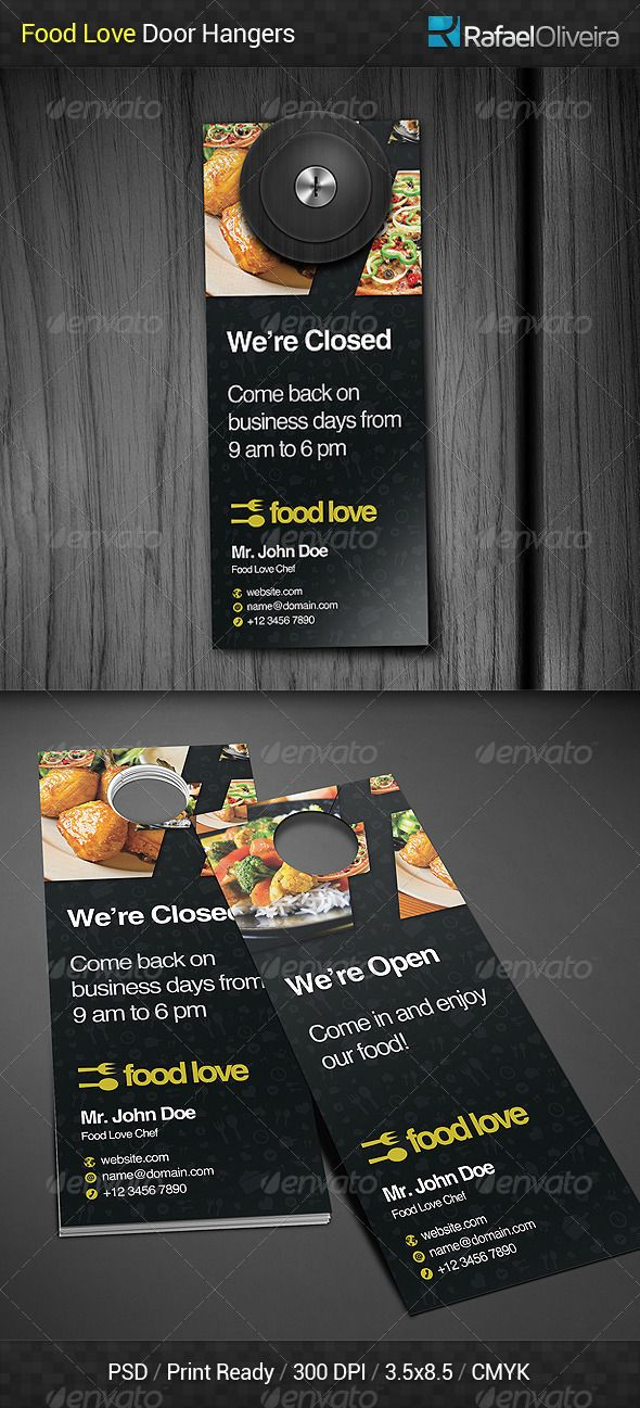 Food Love Door Hanger  Print Templates Template And Fonts
