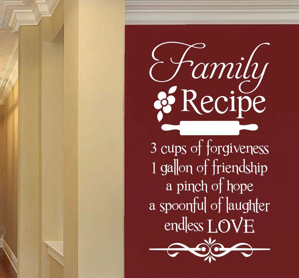 Family Recipe   Kitchen Decal   Vinyl Wall Lettering ...