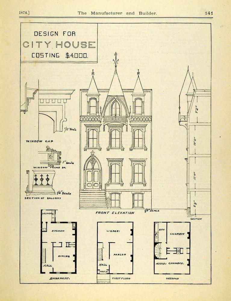 1874 Print Victorian Architecture City House Floor Plan Design Front – City House Floor Plans