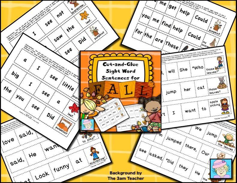 Fall Activities Kindergarten 1st Grade Sight words