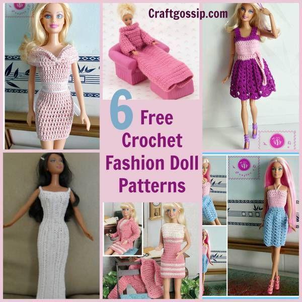 6 Barbie Fashion Doll Patterns (Crochet | Puppenkleidung und Selber ...