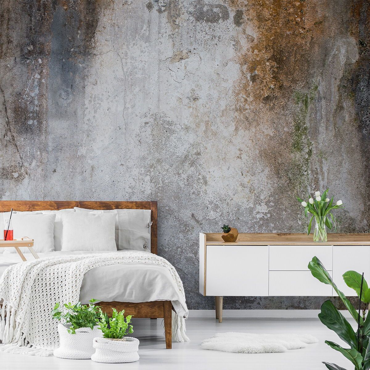 Aged Concrete Wallpaper Wallsauce Eu In 2020 Concrete Wallpaper Room Textured Wallpaper