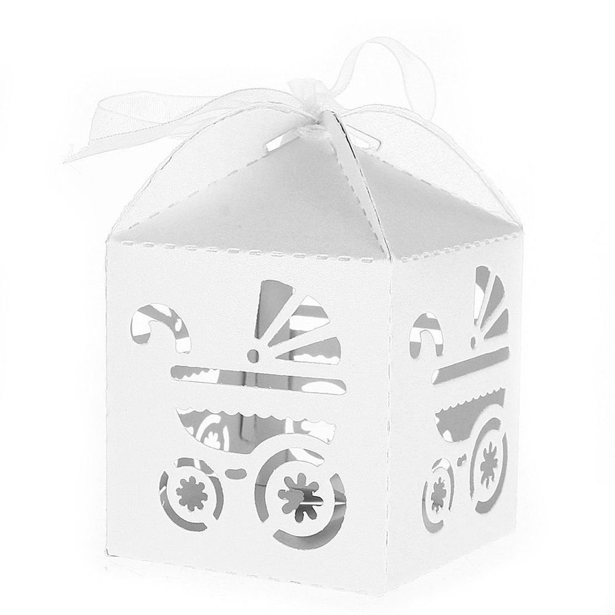 Pixnor Baby Carriage Favor Candy Box Party Baby Shower Party Decorations 50 Pcs (White) *** To view further for this item, visit the image link.