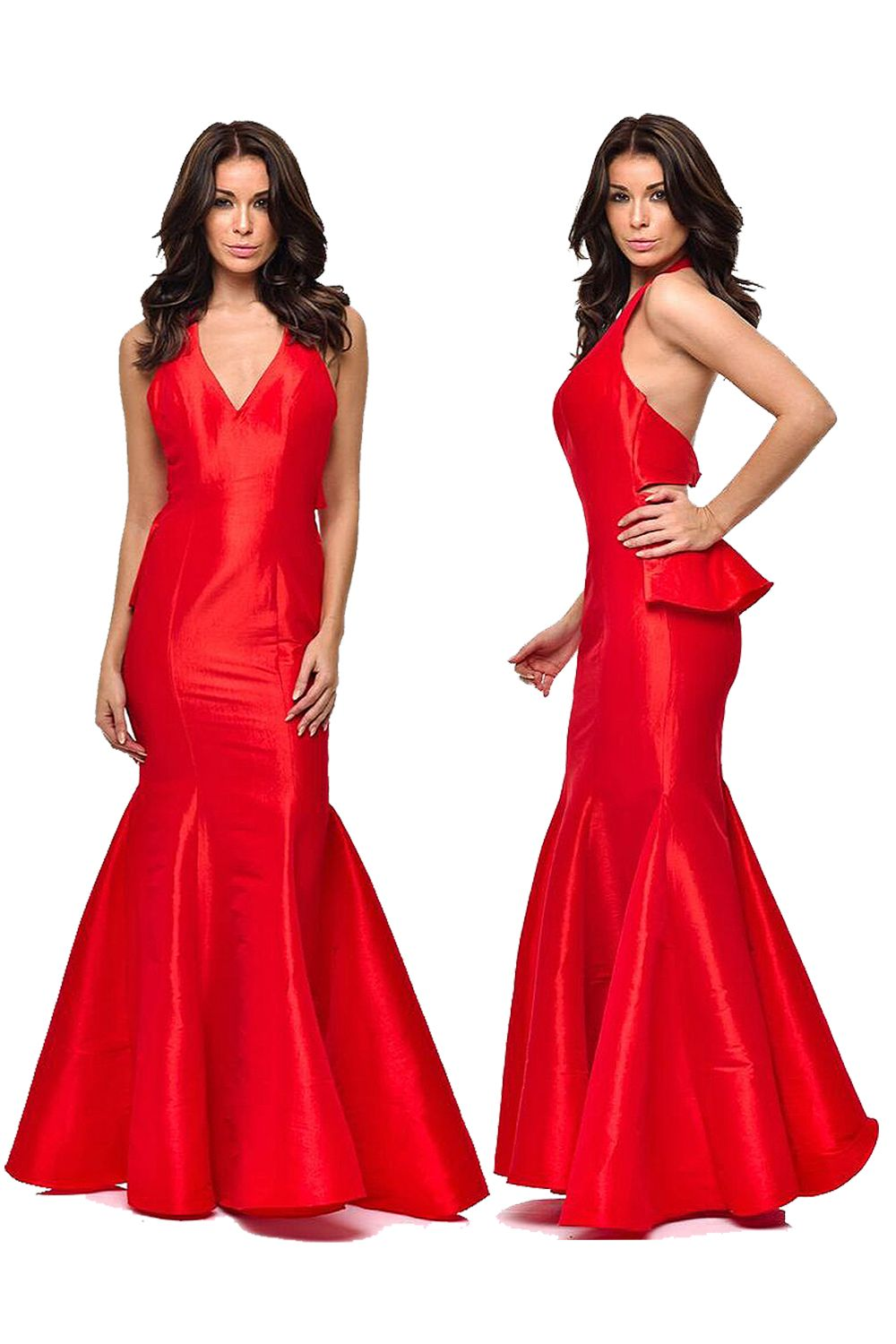 Red backless trumpet maxi prom dress red carpet prom dress