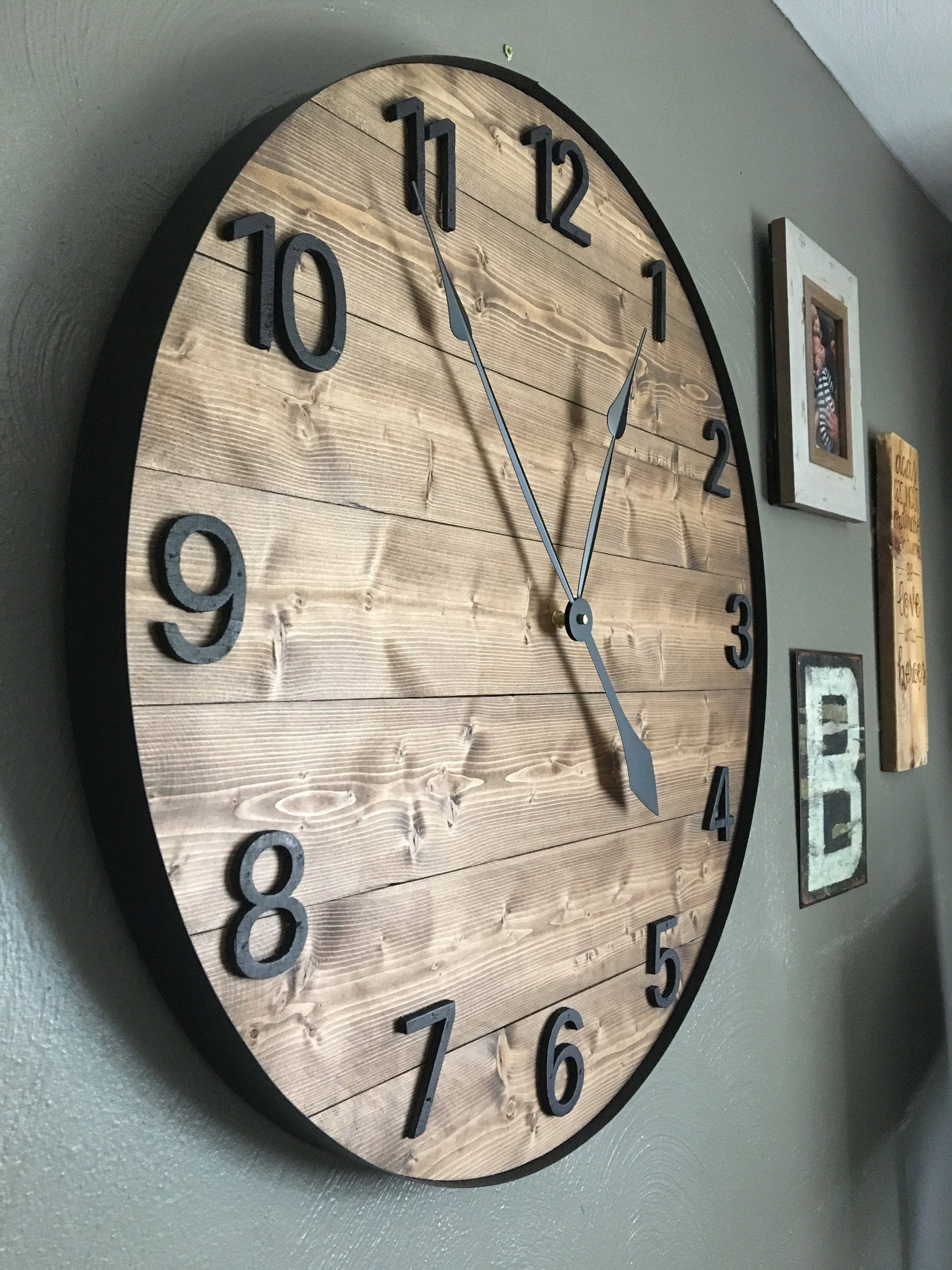 24 Numeric Wall Clock Large Wall Clock Farmhouse Wall Etsy Diy
