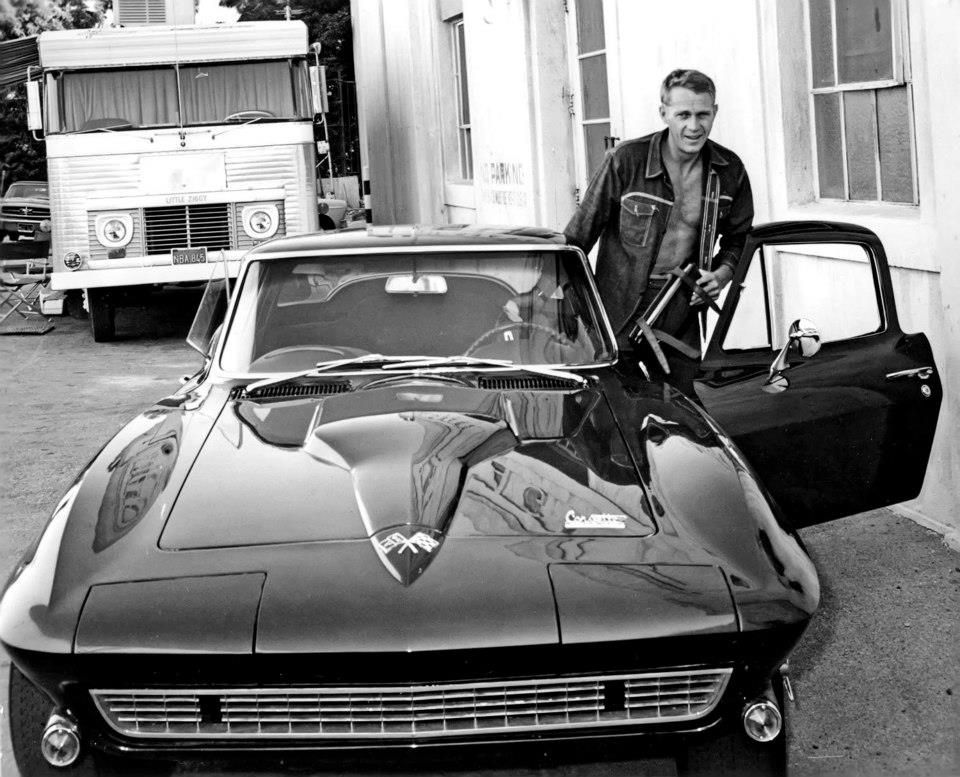 Steve McQueen and his 1966 Corvette.
