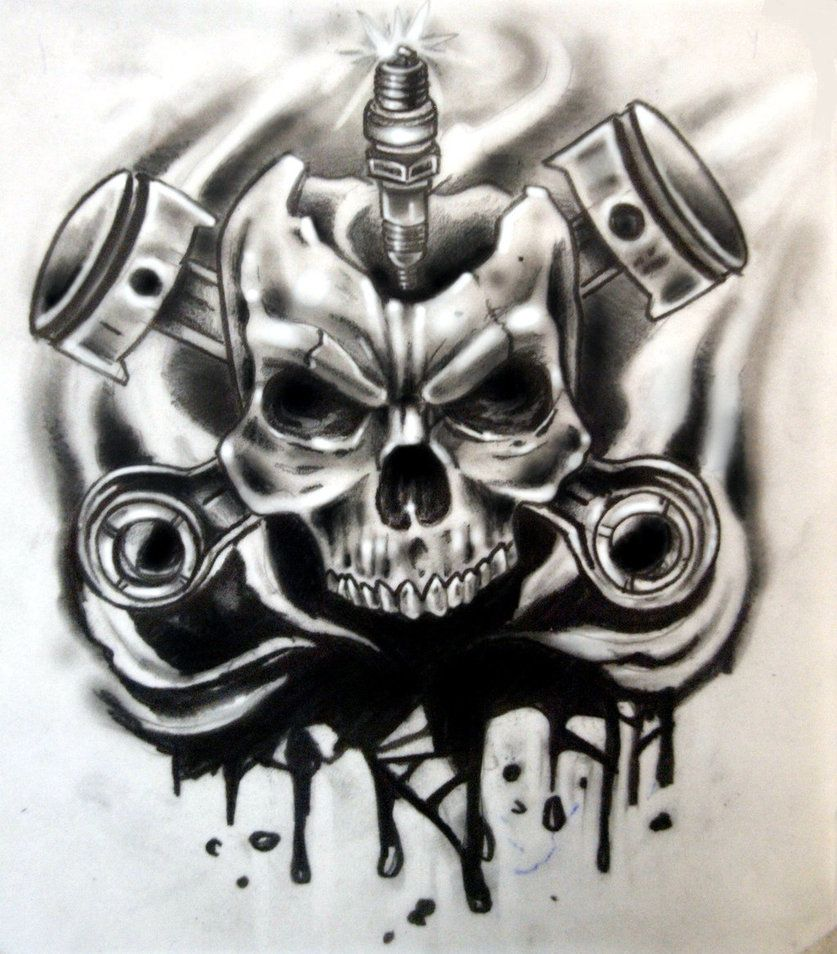 Small Engine Tattoo: Skull Pistons And Spark Tattoo Design For Covering A Small