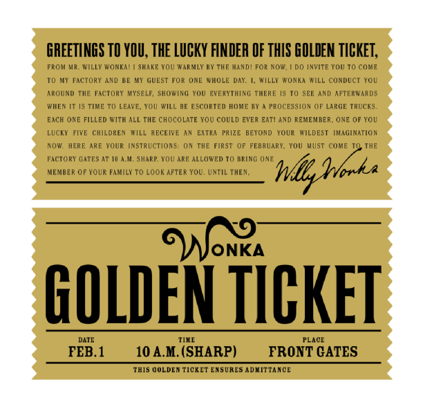 Another Example Of Willy Wonka S Golden Ticket 1960s Typography