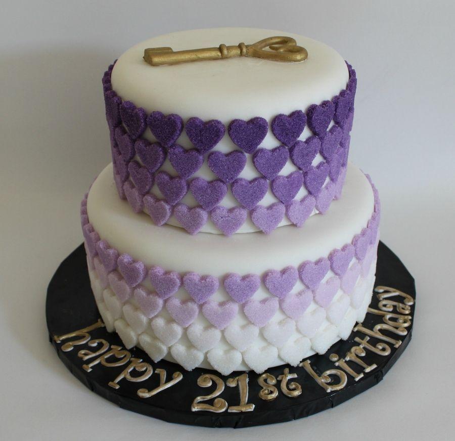 Enjoyable Purple Ombre Sugar Hearts Cake Tiered Cakes Birthday 21St Personalised Birthday Cards Beptaeletsinfo
