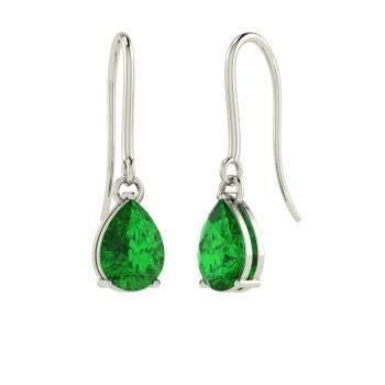 Angara Pear Shape Emerald Earrings with Diamond Flower in White Gold T6qiwgiXx