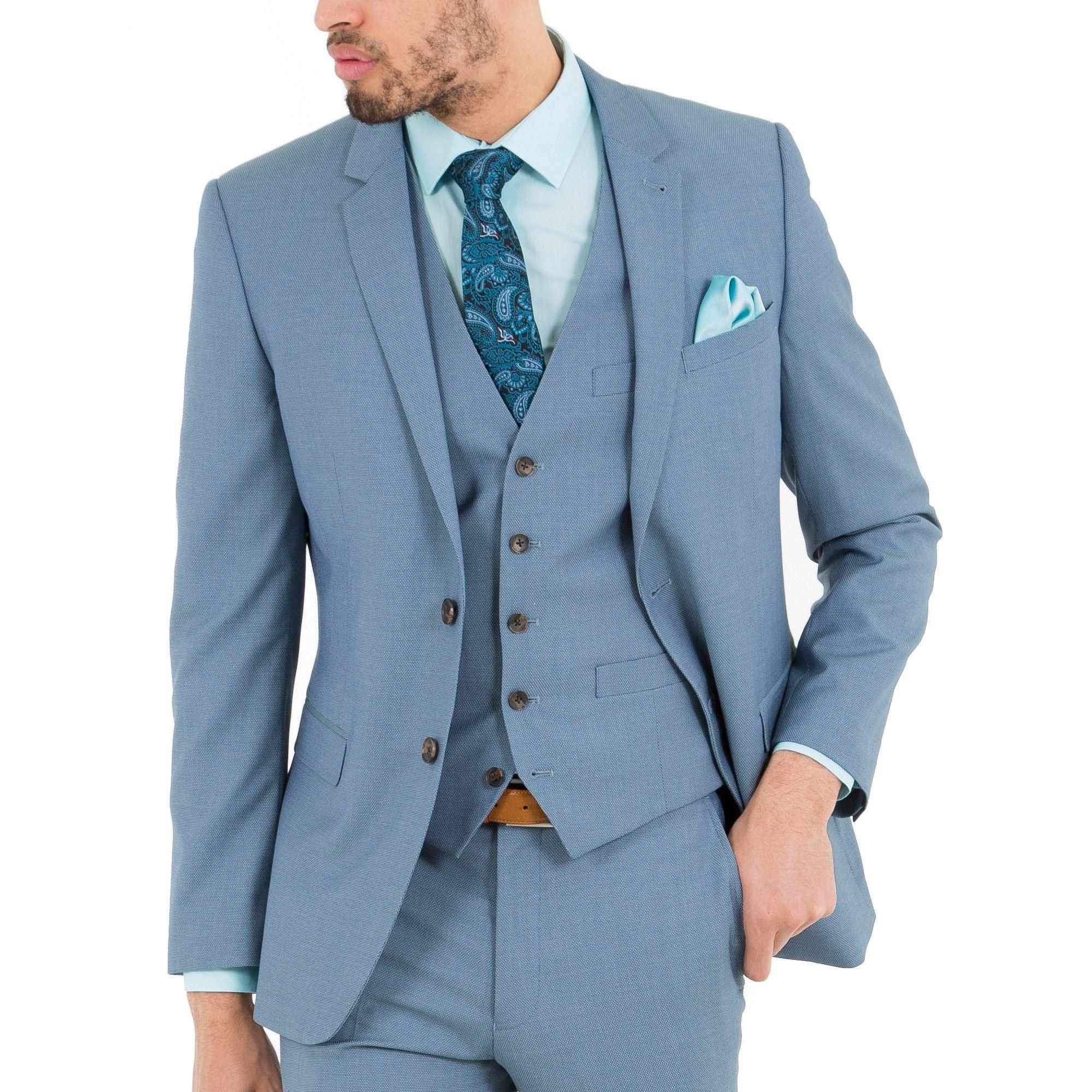 FELLINI TAILORED Light Blue Plain Tailored Three Piece Suit - Mens ...