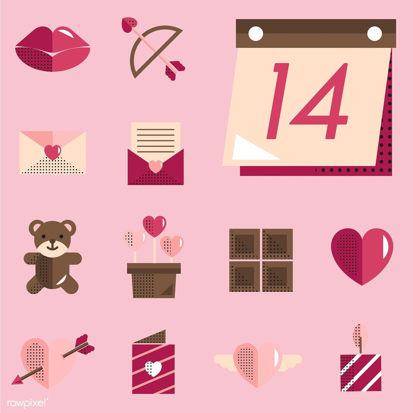 Valentines icons set vector free image by