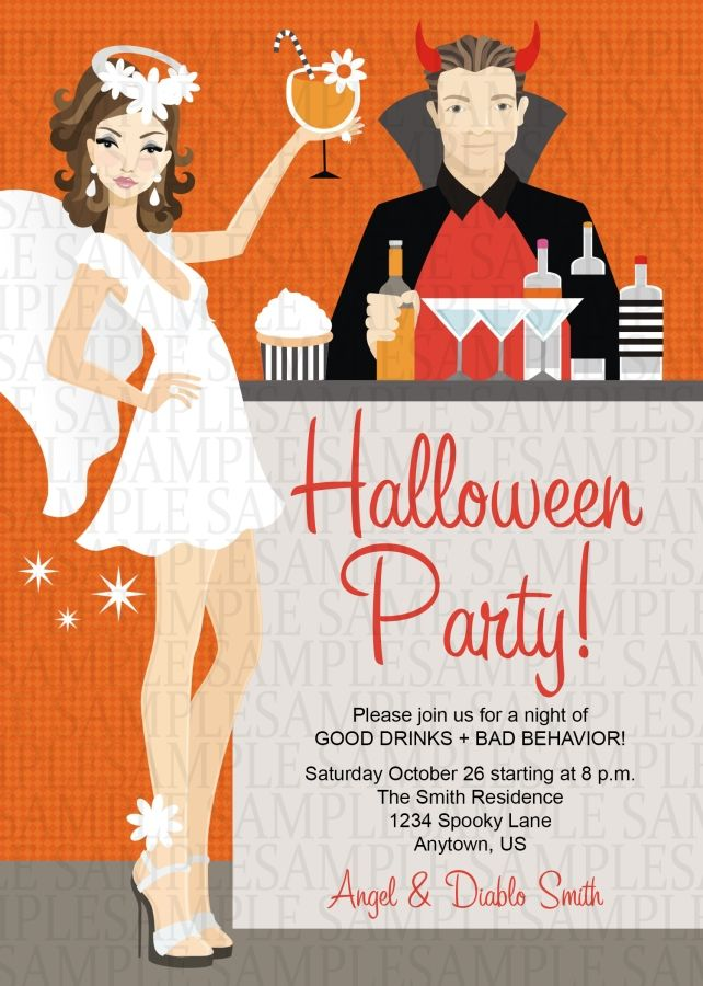 Angel And Devil Halloween Costume Adult Birthday Party Invitation 11