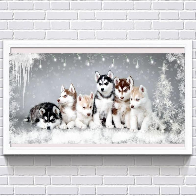 Husky cute puppy 5D DIY diamond painting hand sticker diamond mosaic embroidery art full diamond kit cross stitch mural Christmas gift