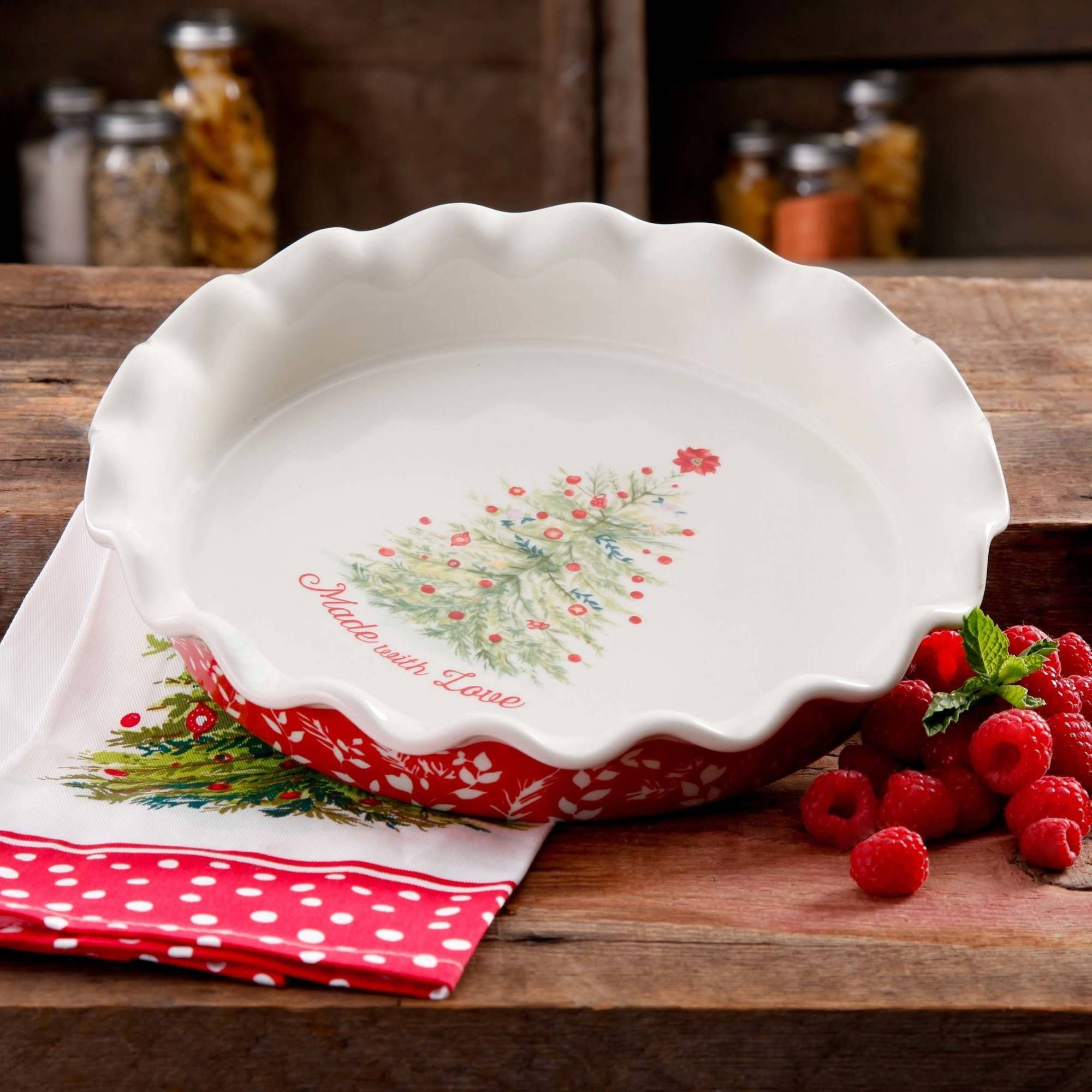 the pioneer woman holiday cheer 9 ruffle top pie plate