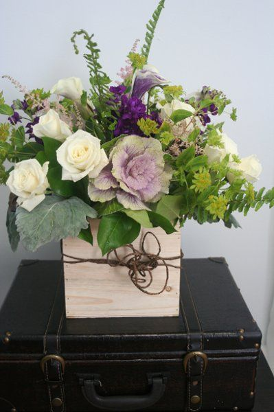Boho Chic Rustic Brown Green Ivory Purple Calla Lily Centerpiece ...